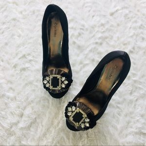 zigi soho / satin black lexie platform heel size 6